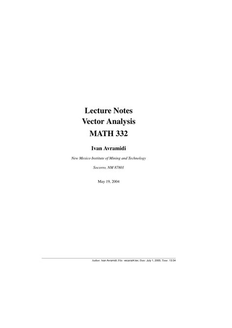 (PDF) Lecture Notes Vector Analysis MATH 332