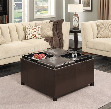 Ottoman Times by Convenience Concepts Times Square Ottoman W 4 Tray Tops