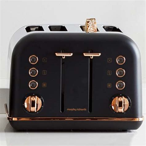 black accents rose gold pyramid kettle   slice toaster set