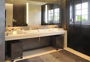 vasque sur plan de travail salle de bain carrelage salle With plan de travail en bois pour salle de bain