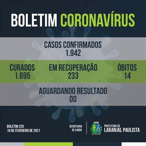 Boletim Coronavírus 220   19/02/2021   Laranjal Paulista ...