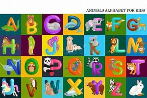 Set of animals alphabet for kids letters cartoon fun abc for Kids name letters