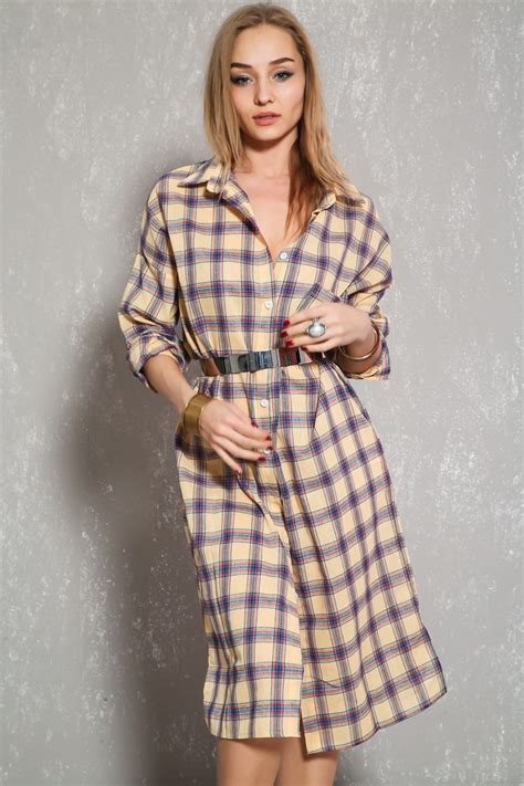 Sexy Yellow Plaid Long Sleeve Casual Flannel Dress