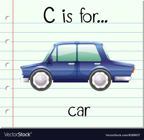 Flashcard Alphabet C Is For Car Royalty Free Vector Image
