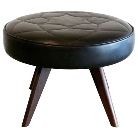 round red leather ottoman vintage danish black leather round ottoman at 1stdibs
