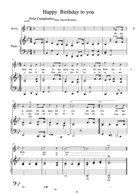 This music sheet is easily accessible and can be incorporated into any of your this printable pdf music sheet can be viewed, downloaded and also printed. Happy Birthday Piano By Feliz Cumpleanos printable pdf download