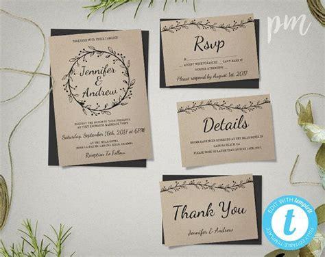 minimalistic wedding invitation template suite  wreath