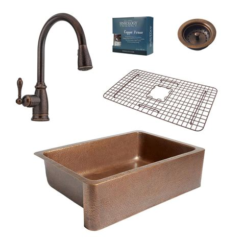 copper kitchen sink faucets sinkology pfister all in one adams farmhouse copper 33 in kitchen sink design kit with rustic