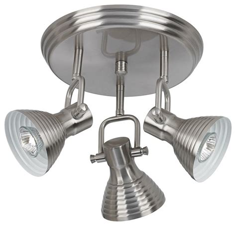 contemporary brushed steel 3 light step track fixture