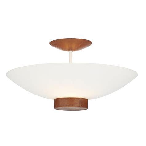Ceiling Light Tanned Leather Detail Saddler Uplighter For