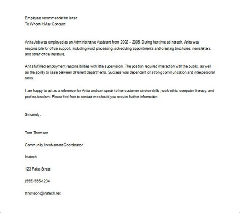 job recommendation letter templates  sample examples