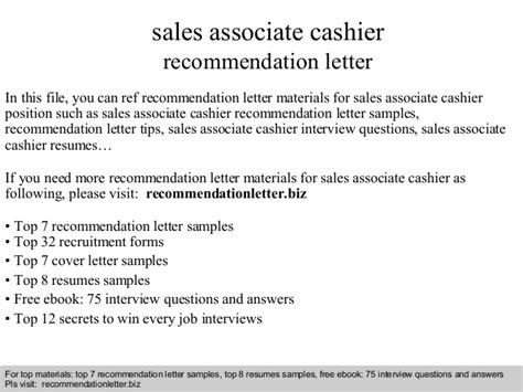 sle of recommendation letter sales associate cashier recommendation letter 9957
