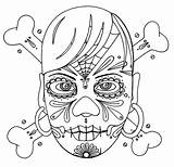 Coloring Skull Cross Bones Background Sky sketch template