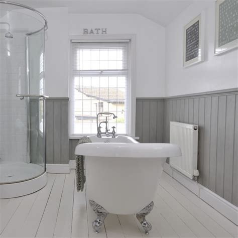 tongue and groove bathroom ideas tongue and groove half panelled wall grey bathroom ideas to inspire you housetohome co uk