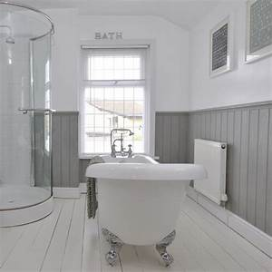 tongue and groove half panelled wall grey bathroom ideas With tongue and groove wall panelling for bathrooms
