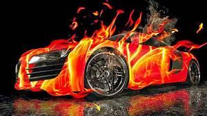 Red Ford Mustang 3d Car Fire Wallpaper Hd For Desktop