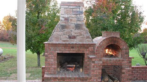 Outdoor Brick Fireplace With Oven  Fireplace Design Ideas