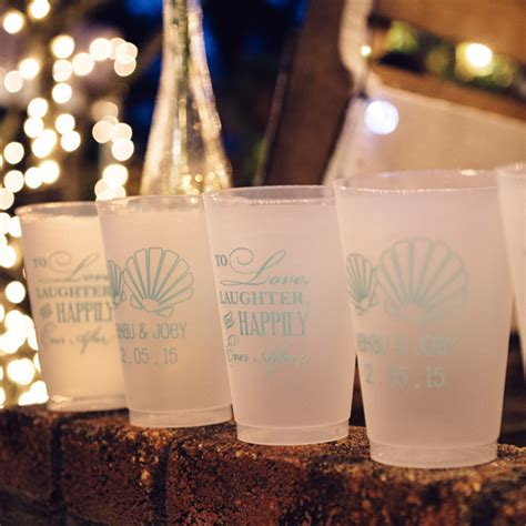 plastic wedding cups personalized  oz frosted