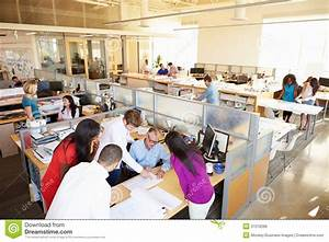 Interior Of Busy Modern Open Plan Office Stock Photo ...