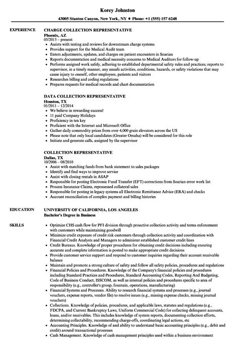 Collections Resume by Collection Representative Resume Sles Velvet