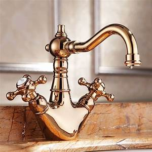 New, Luxury, Rose, Gold, Solid, Brass, Copper, Dual, Handle, Washbasin, Faucet, European, Lavatory, Faucet