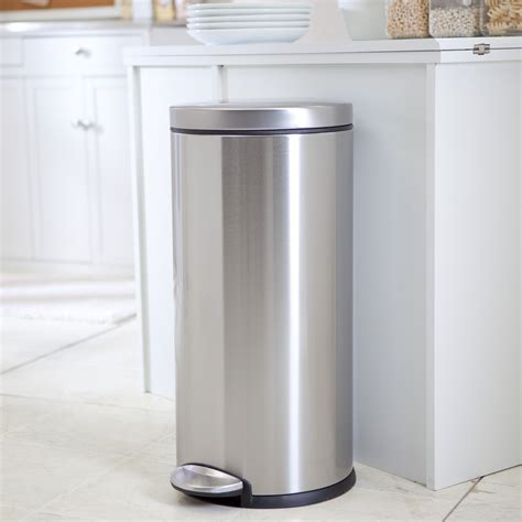 kitchen trash can simplehuman 174 brushed stainless steel step 8 gallon