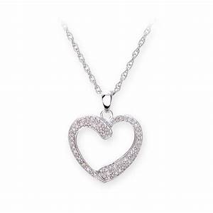 Sterling silver necklace with diamond set heart shape pendant for Wedding ring necklace