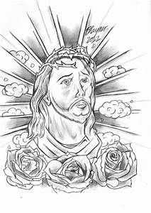 Black And Grey Jesus Tattoo Design