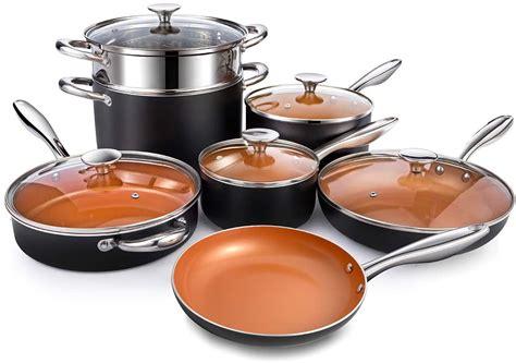 michelangelo copper pots  pans set nonstick  piece