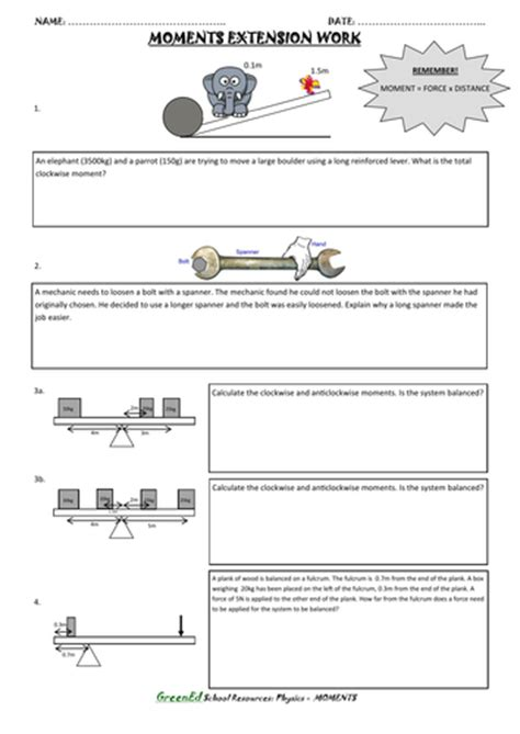 moments worksheet extension work by 10alison01