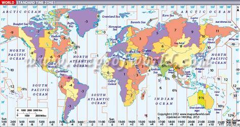 world timezone map displays standard time zones world