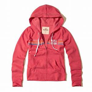 Lyst - Hollister Printed Logo Graphic Hoodie in Red