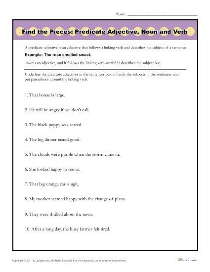 Find The Pieces Predicate Adjective, Noun, And Verb  Printable Activity