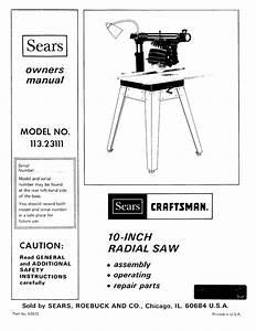 Craftsman 11323111 User Manual 10 Inch Radial Saw Manuals