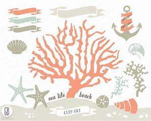 Coral beach sea life vector clip art corals starfish sand