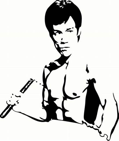 Bruce Lee Stencil Stencils Silhouette Nunchucks Decal