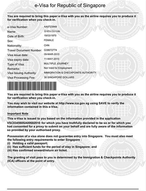 Handling of Singapore visa and Singapore tourist visa