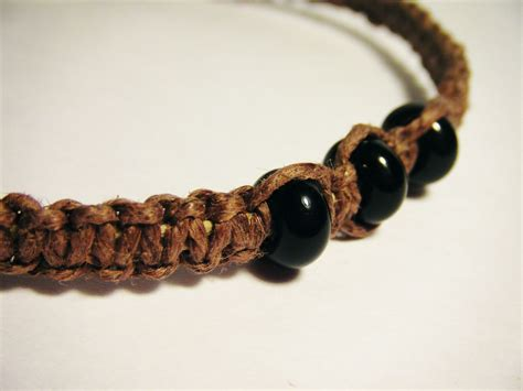 Hand Made Brown Hemp Bracelet With Black Glass Beads By