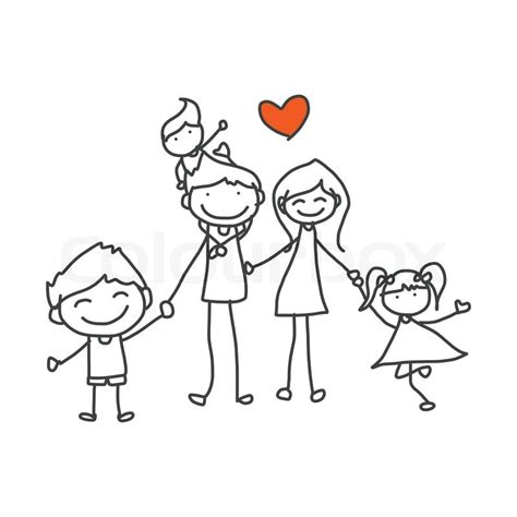 hand drawing cartoon happy family stock vector