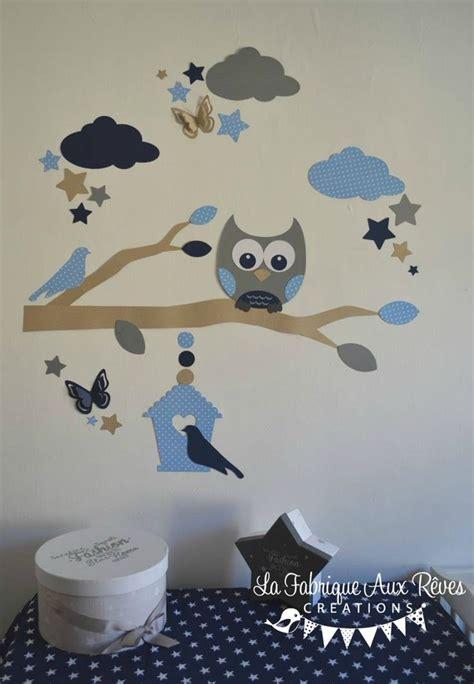 stickers chambre garcon stickers hibou chouette branche nuage étoiles nichoir bleu