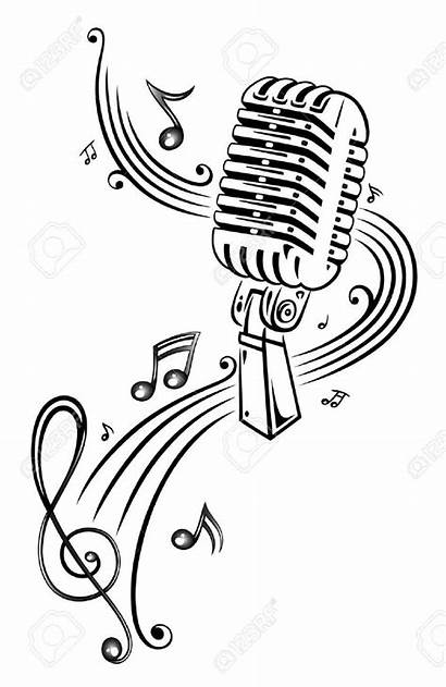 Tattoo Microphone Drawing Notes Drawings Musik