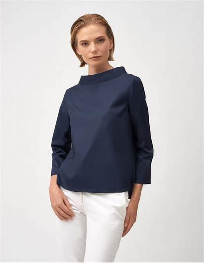 Popeline Blouse Xacus Bleu Blouses Femme Blau