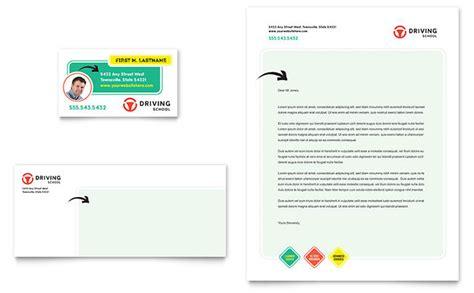 driving school business card letterhead template design