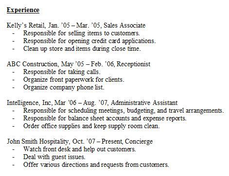 Past Work Experience Resume by Resume Experience Sle