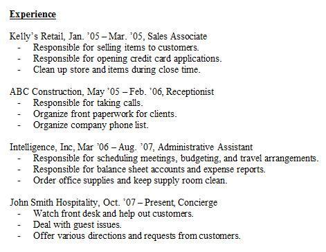 resume experience sle