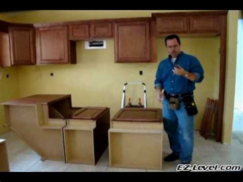 installing kitchen cabinets youtube how to install base cabinets part 1 of 4 wmv youtube