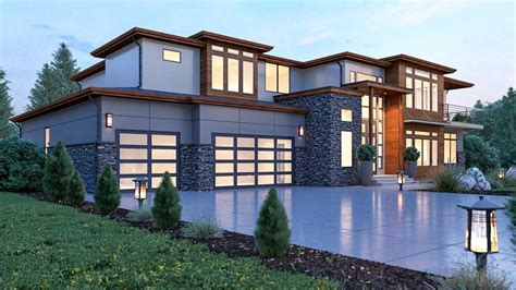 Modern House Plan with 2 Story Ceilings and Walls of Glass
