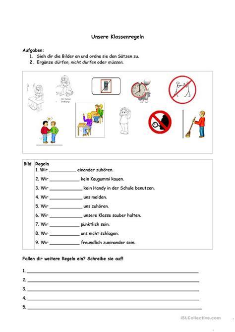 klassenregeln arbeitsblatt kostenlose daf arbeitsblaetter