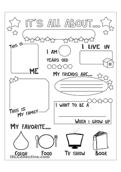 all about me worksheet free esl printable