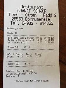 Restaurant Rechnung : echte bewertung rechnung als beweis bild von restaurant granat schkur dornumersiel ~ Themetempest.com Abrechnung